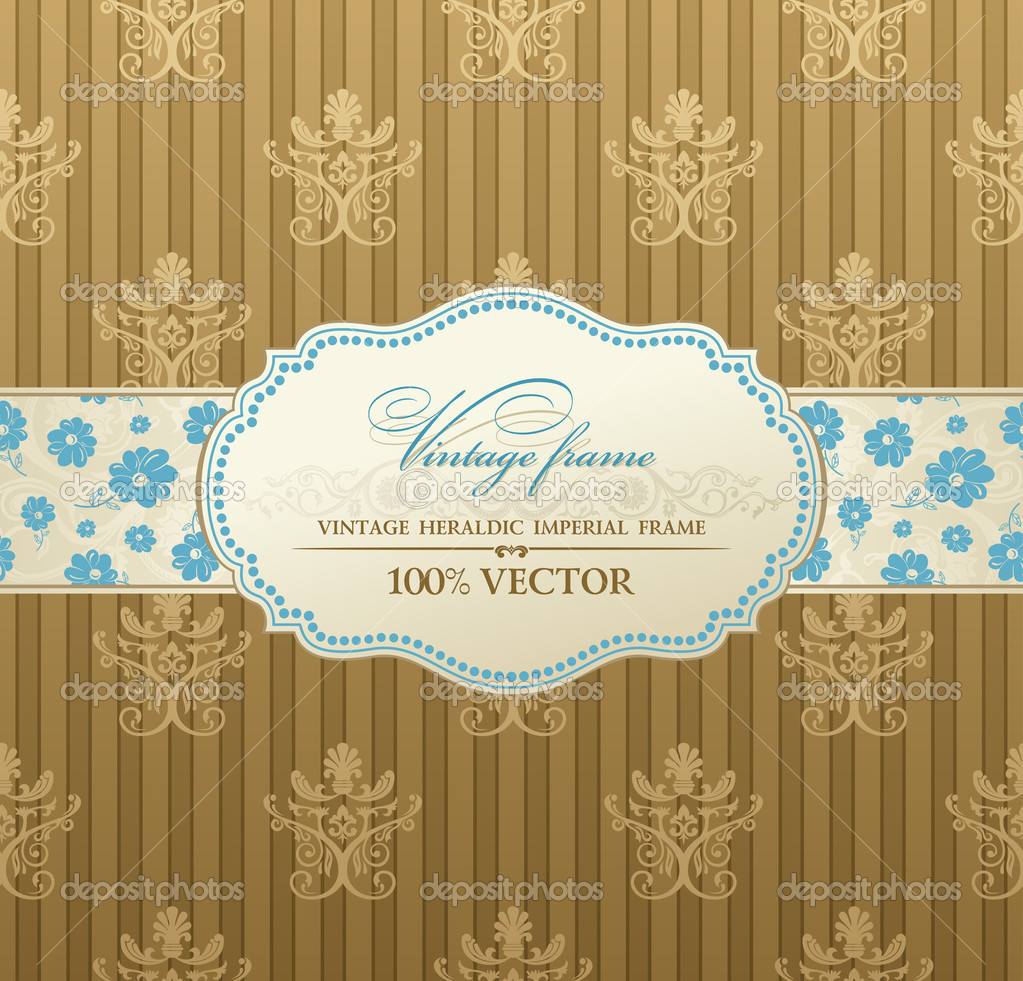 Invitation vintage label vector frame pastel — Stock Vector #5789144