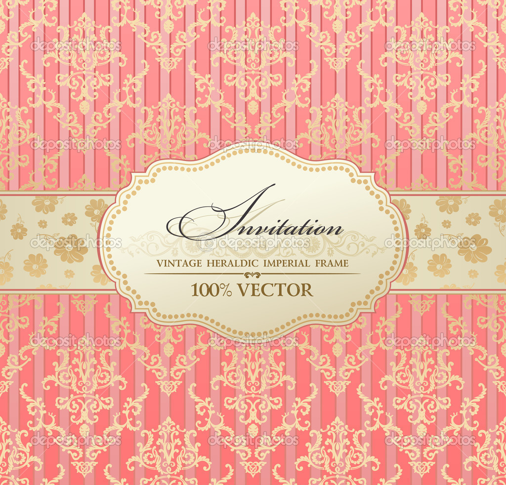 Invitation vintage label vector frame pink pastel — Image vectorielle #5789145