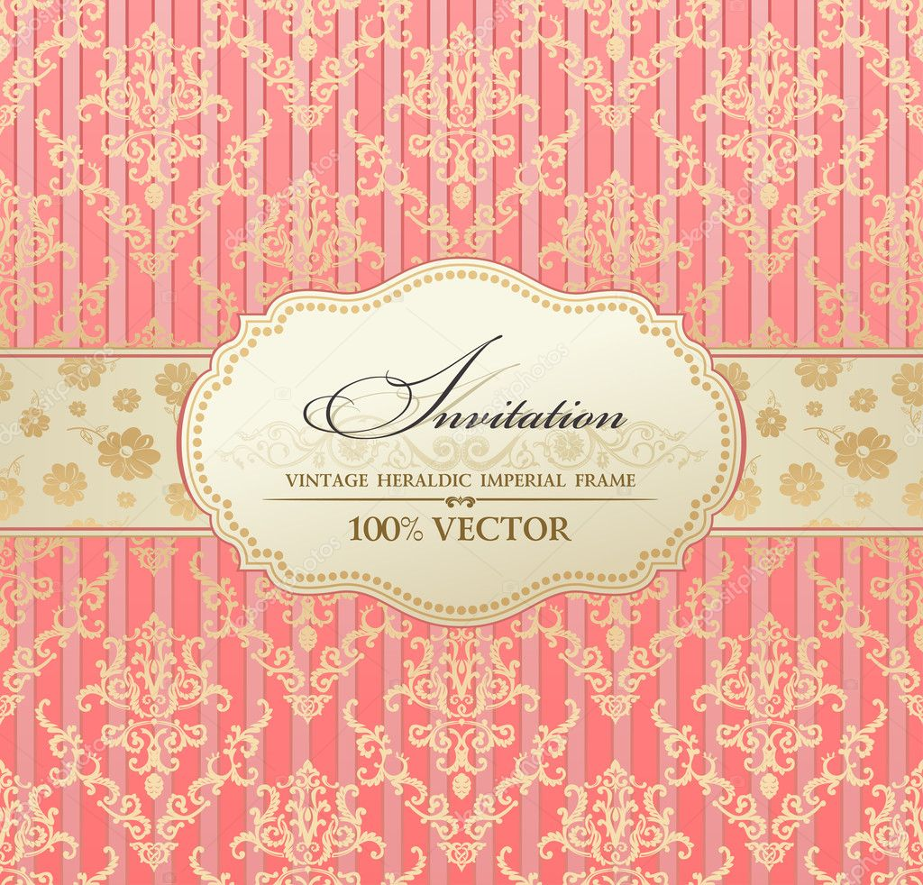 Invitation vintage label vector frame pink pastel — Stock Vector #5789145