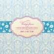 Invitation vintage label flower frame blue -  