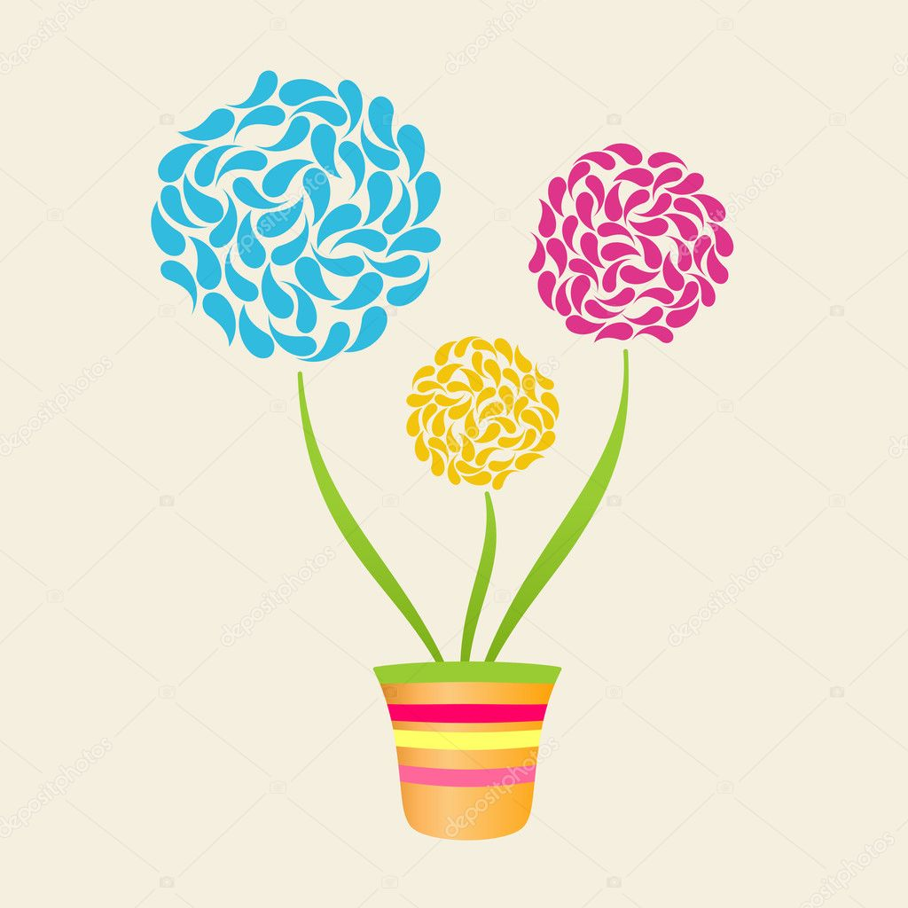 Abstract Flower In Pot, Flowerpot Background vector — Stock Vector #5815352