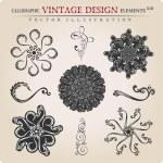 Vector stars Snowflakes vintage heraldic frame decor — Stock Vector #6213009