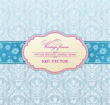 Background invitation vintage label. flower frame blue