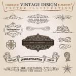 Calligraphic elements vintage Congratulation ribbon. Vector fram — Stock Vector