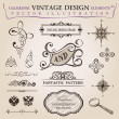 Calligraphic elements vintage decor. Vector frame ornament - Stok Vektör