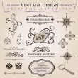 Calligraphic elements vintage decor. Vector frame ornament - Stok Vektr