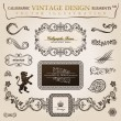 Calligraphic elements vintage heraldic. Vector frame decor — ベクター素材ストック