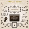 Calligraphic elements vintage heraldic. Vector frame decor — Векторная иллюстрация