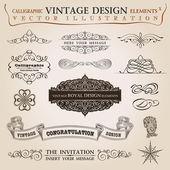 καλλιγραφικά στοιχεία συγχαρητήρια vintage κορδέλα. φορέων της fram — Διανυσματικό Αρχείο