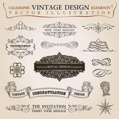 Calligraphic elements vintage Congratulation ribbon. Vector fram — Stock Vector