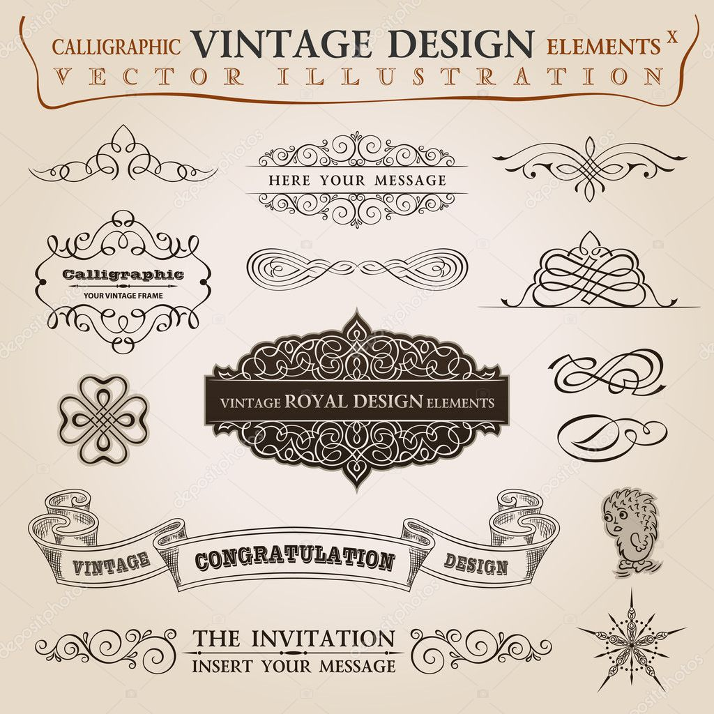 Calligraphic elements vintage set Congratulation ribbon. Vector frame ornament — Vektorgrafik #6278417