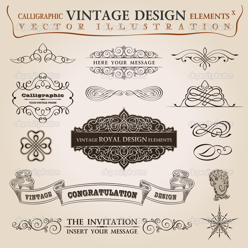 Calligraphic elements vintage set Congratulation ribbon. Vector frame ornament — Imagen vectorial #6278417