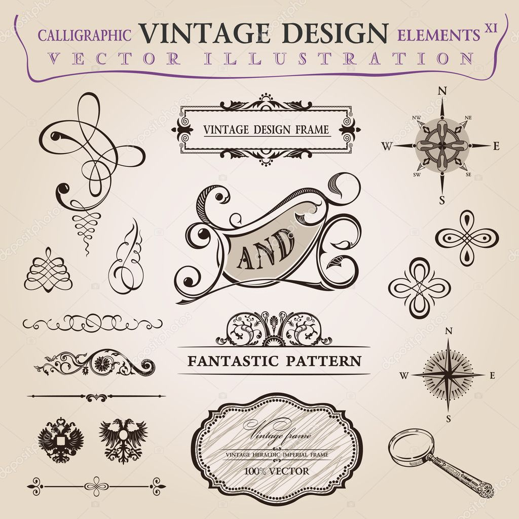 Calligraphic old elements vintage decor. Vector frame ornament — Stock Vector #6278419