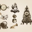 Vector ancient clocks old vintage antique retro — Stockvectorbeeld
