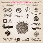 Calligraphic elements vintage heraldic. Vector symbols — Stock Vector