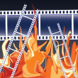 Films in fire — Stock Vector