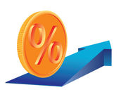 Money percent growing — Stock Vector