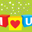 Stock Vector: I love u sparkling cubes