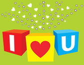 I love u sparkling cubes — Stock Vector