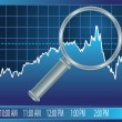 Stock market trend under magnifier glass — Stock Vector
