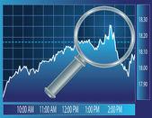 Stock market trend under magnifier glass — Stock Vector