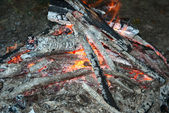 Firewood in flames — Stock Photo