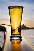 Pint of beer - over Dublin skyline — Stock Photo