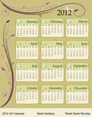 Calendar 2012 - UK — Vector de stock