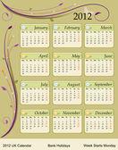 Calendario 2012 - regno unito — Vettoriale Stock