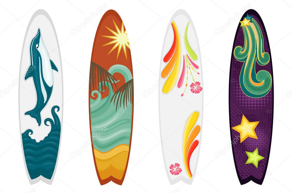 Set of four surfboards - dolphin, retro, hibiscus and ocean themes. Vector file saved as EPS AI8, all elements grouped, no gradients, no effects. — Stock Vector #5660107