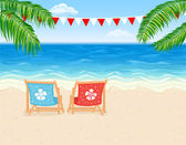 Vacation at tropical beach — Stock Vector