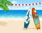 Surf en playa tropical — Vector de stock