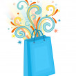 Shopping bag blue — Stock Vector