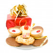 Party and celebrations with sweets and gift — Stock Photo