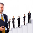 Business team and diagram. Isolated over white background — Stock Photo