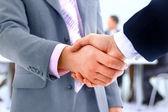 业务背景上孤立的握手 — 图库照片