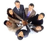 Vista dall'alto del business con le loro mani insieme in un cerchio — Foto Stock