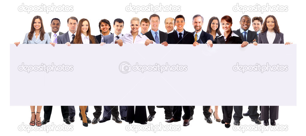 Group of business holding a banner ad isolated on white  Stock Photo #5387948