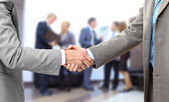 Handshake isolated in office — Foto Stock