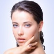 Portrait of young adult woman with health skin of face — Stock Photo
