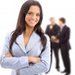 A young attractive business woman and her team — Stock Photo