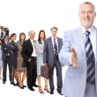 Business man and his team isolated over a white background - Photo