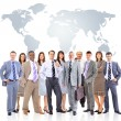 Business team with world map — Stok fotoğraf