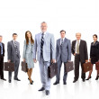 A group of businesspeople, their leader is on the front — Stock Photo