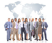 Business team with world map — Stock fotografie