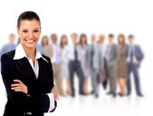 Portrait of successful businesswoman and business team — Stock Photo