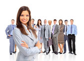 Business woman leading her team isolated over a white background — Stock Photo