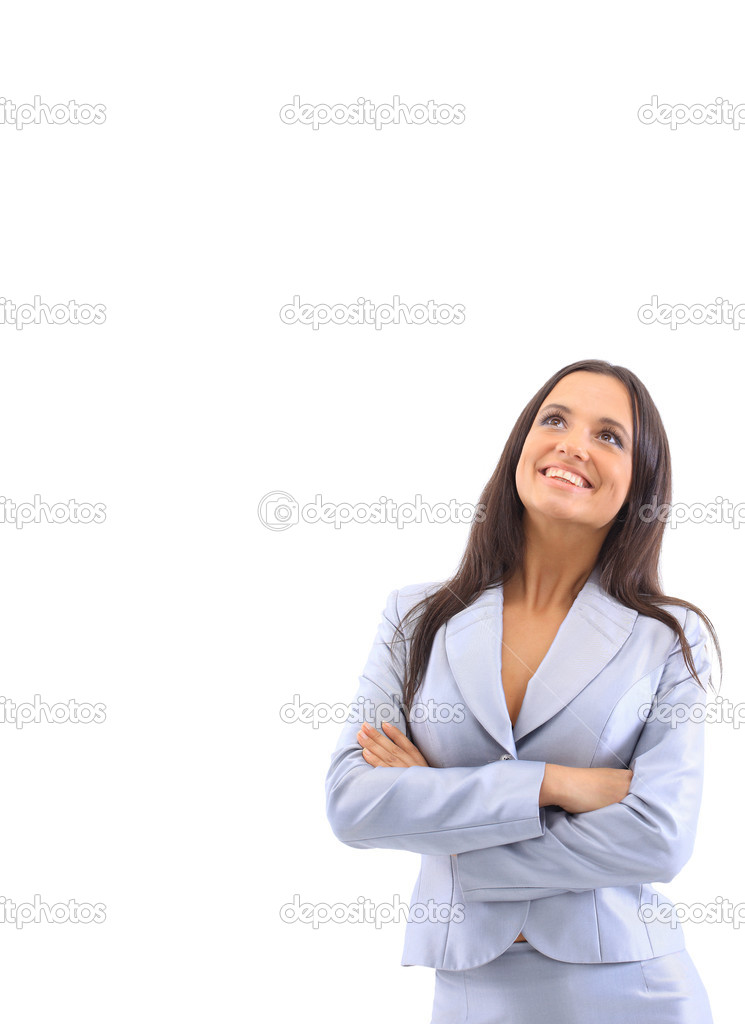 Young happy businesswoman, isolated on white  — Stock Photo #5570474