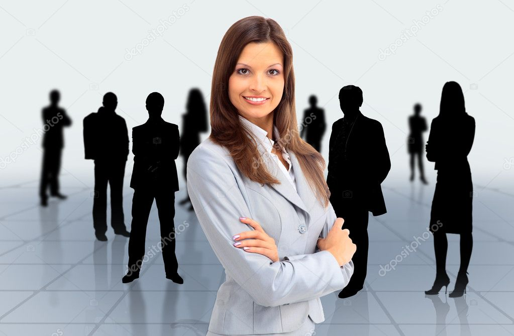 Portrait of successful businesswoman and business team — Stock Photo #5576627