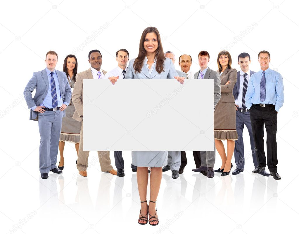 Group of business holding a banner ad isolated on white — Stock Photo #5576706